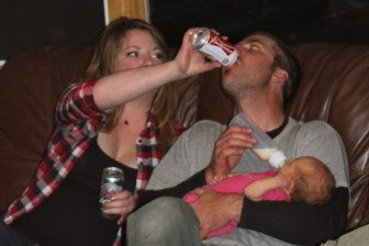 Auntie J helping Daddy out with his drink :)