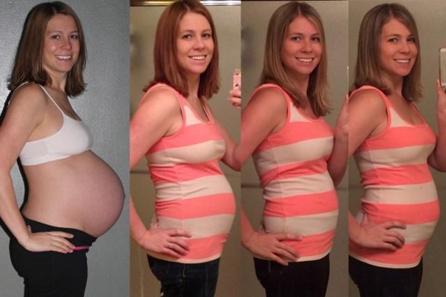 40 weeks - 2 weeks postpartum - 9 months postpartum - nearly 1 year postpartum