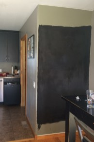 4 coats of primer done! 2 coats of chalkboard paint to go