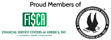 Checkexpress - Proud Members Of - Financial Service Centers of America and Community Currency Exchange Association of Illinois