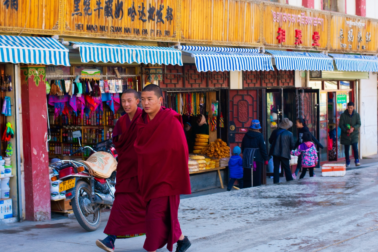 Monks walking along the road in Xiahe
