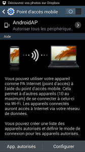 Point d'accès wifi android 4