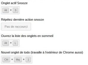 raccourcis clavier TAB SNOOZE