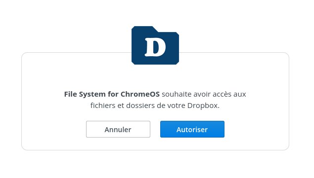 Autorisation Chrome OS dropbox
