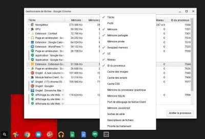 Accédez à de nouvelles données dans le gestionnaire de tâche de Chrome OS