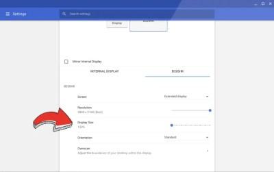 Ajuster la taille d'affichage des écrans externe sur Chrome OS