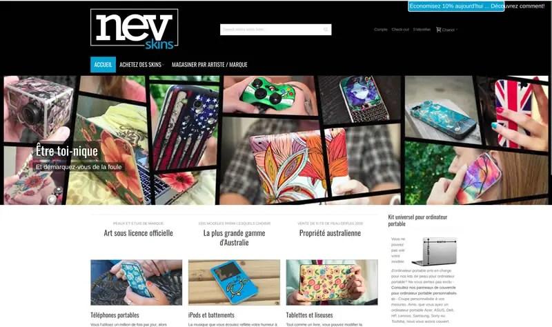 Page d'accueil du site newskins.com.au