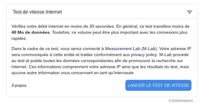 Test de vitesse Internet (Speedtest)