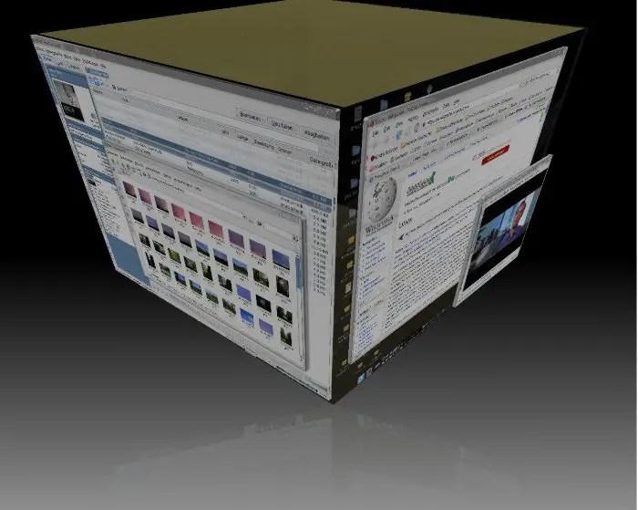 Dans cet exemple, un système d'exploitation de type Unix utilise le système de fenêtrage X et le plug-in de cube Compiz pour décorer l'environnement de bureau KDE.