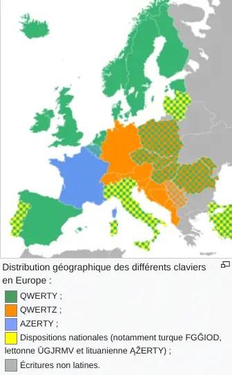 Carte des différentes norme de clavier en europe