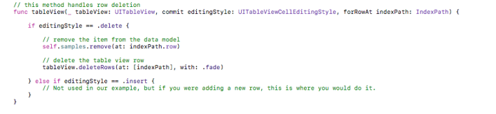 How can I delete a row from UITableView? - MyCodeTips