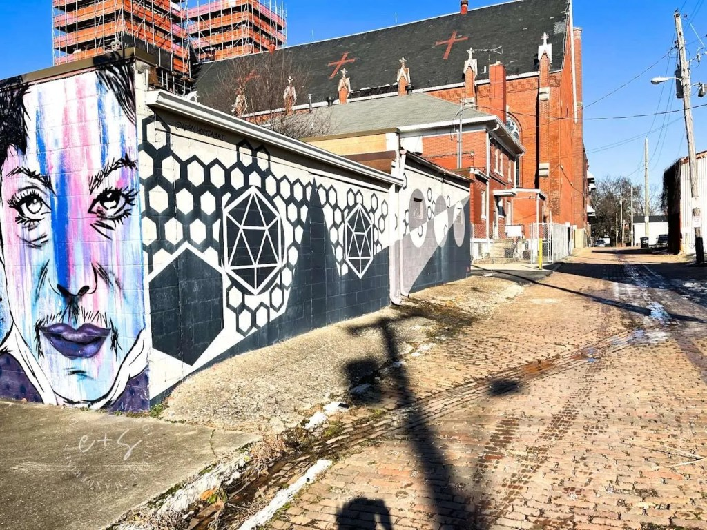 Black and White Hexagons Mural Louisville