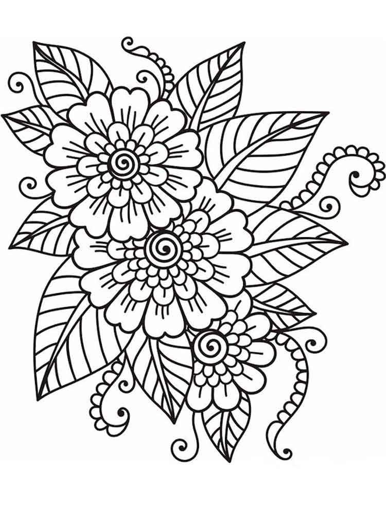 Flowers coloring pages for adults. Free Printable Flowers ... | free printable coloring pages for adults only flowers