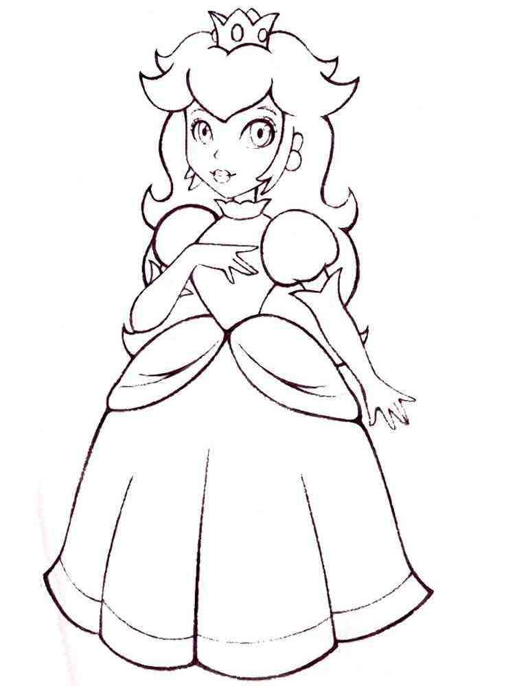 Princess Peach Coloring Pages Free Printable Princess