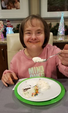 down syndrome woman celebrates a birthday