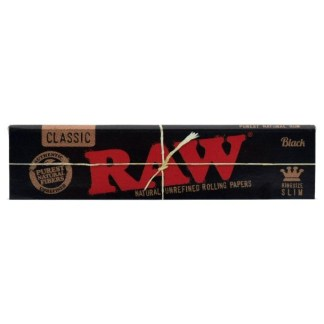 RAW BLACK NATURAL UNREFINED HEMP ROLLING PAPERS KING SIZE SLIM, PACK/32