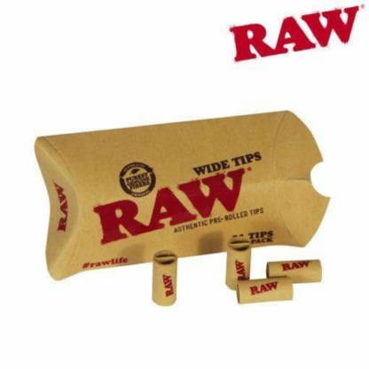 Raw Wide Pre Rolled Unbleached Tips In Pillow Pack