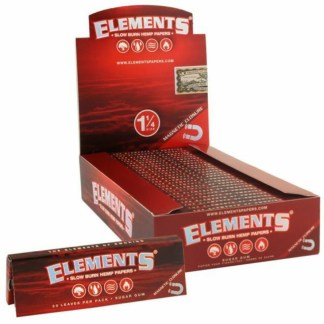 Elements Red 1/4 Slow Burning Hemp Rolling Papers With Magnet