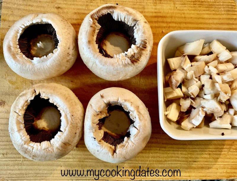 Champiñones rellenos de jamon al horno