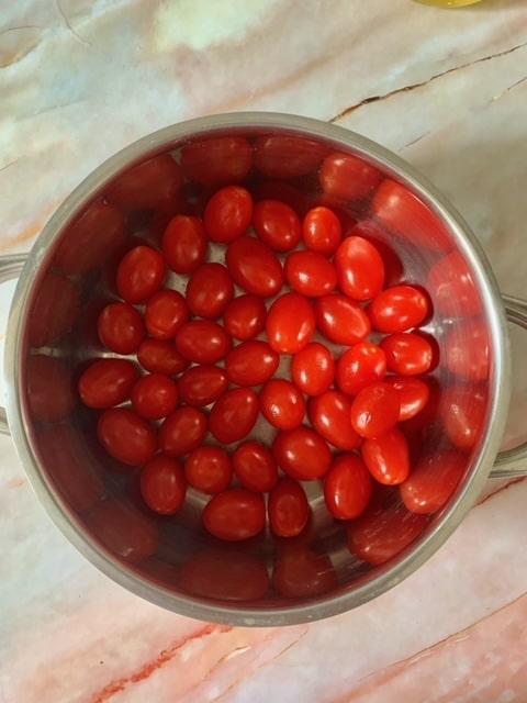 Tomates Cherry lavados y secados