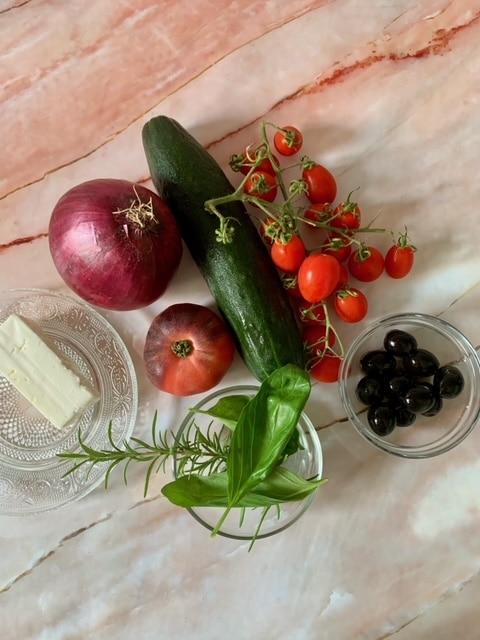 Ingredientes Ensalada Griega con Queso Feta