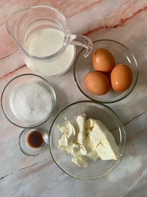Ingredientes Flan de Queso Mascarpone