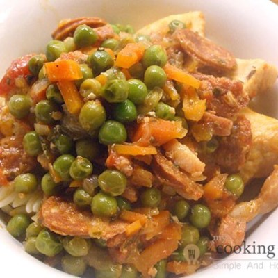 Yummy Lunch Made Of Veal And Peas
