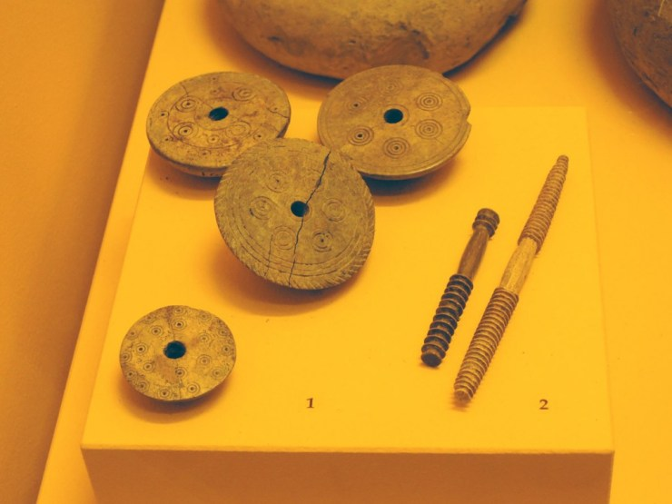 Deer horn weaving tools in National Archaeological Museum of Fratta