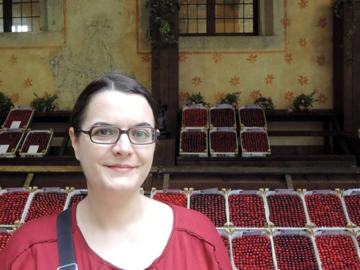 Me and cherries (notice the matching red shirt)