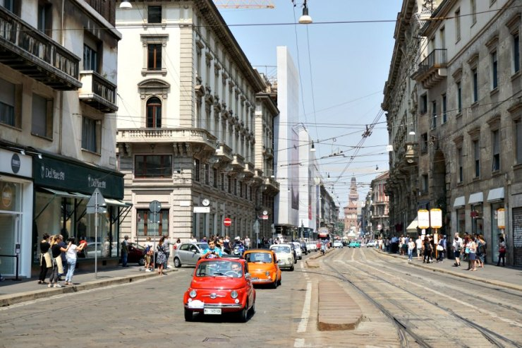 Classic 500 parade in Milan