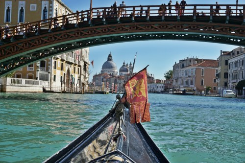 On a gondola under Accademia bridge