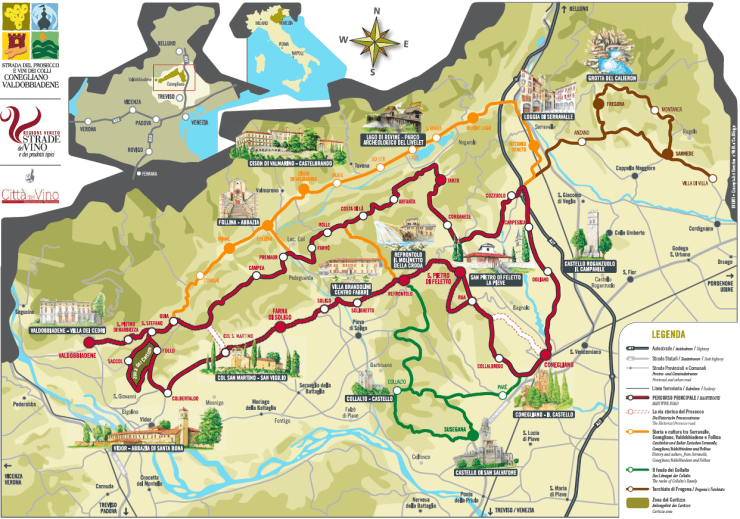 Prosecco road map by coneglianovaldobbiadene.it