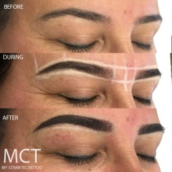 Before & After Hybrid Brow tattoo which is a combination of feathering and powder.