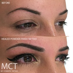 A soft shading of the brow to create a fuller look.