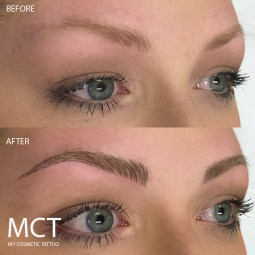 Feathered these light brows into shape. Before & After 3D Feather Brow Tattoo