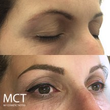 3d Hair stroke tattoo over old solid eyebrow tattoo. Fresh winged eyeliner tattoo on top lid for an instant lift