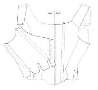Jumps line drawing, from Corsets: Historic Patterns and Techniques by Jill Salen
