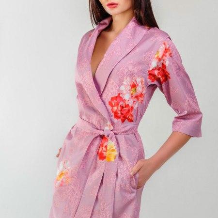 халат из сатина Santa Barbara мини розовый