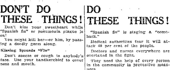 Spanish flu advice