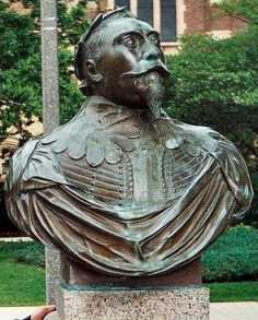 Bust of King Gustav Adolph on campus at Gustavus Adolphus College in Minnesota