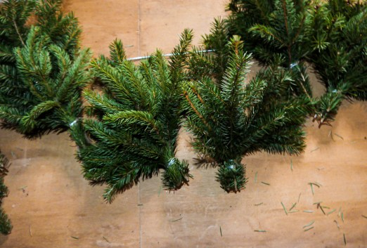 real evergreen garland bunches
