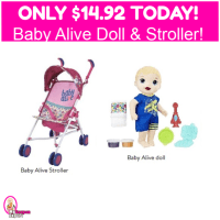 Baby Alive Boy Doll Snackin' Noodles AND Stroller $14.92 TOTAL!  Hurry!!!