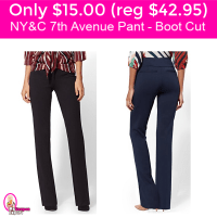 New York & Company 7th Avenue Pant Boot Cut $15.00 (reg $42.95) Free Shipping!