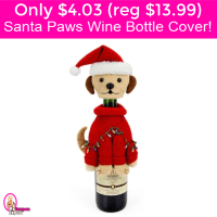 Only $4.03 (reg $13.99) Santa Paws Bottle Cover!  Great for gifts!