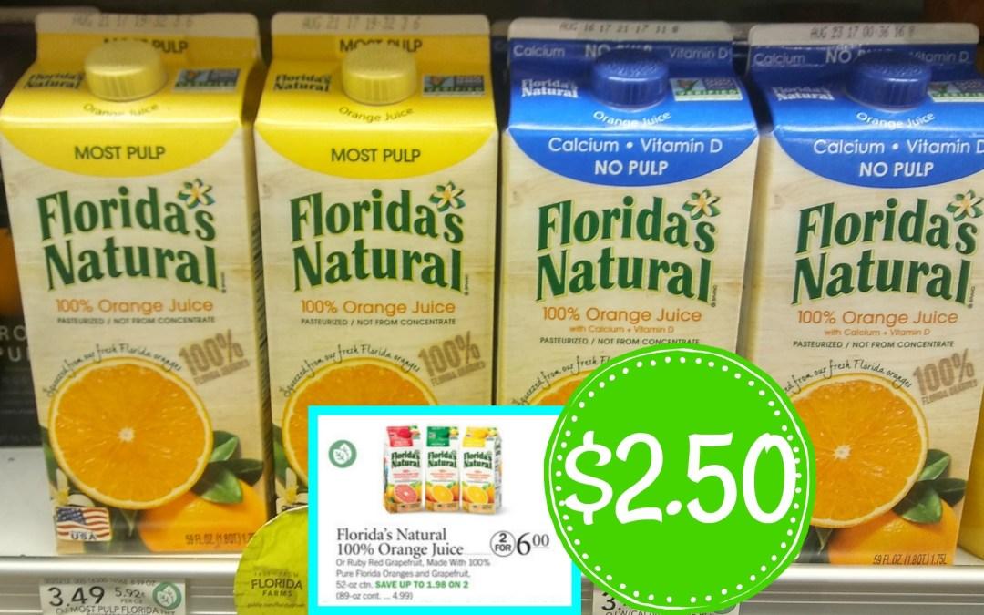 Floridas Natural Orange Juice $2.50 at Publix