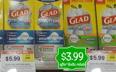 Glad Kitchen Trash Bags $3.99 after Ibotta Rebate at Publix