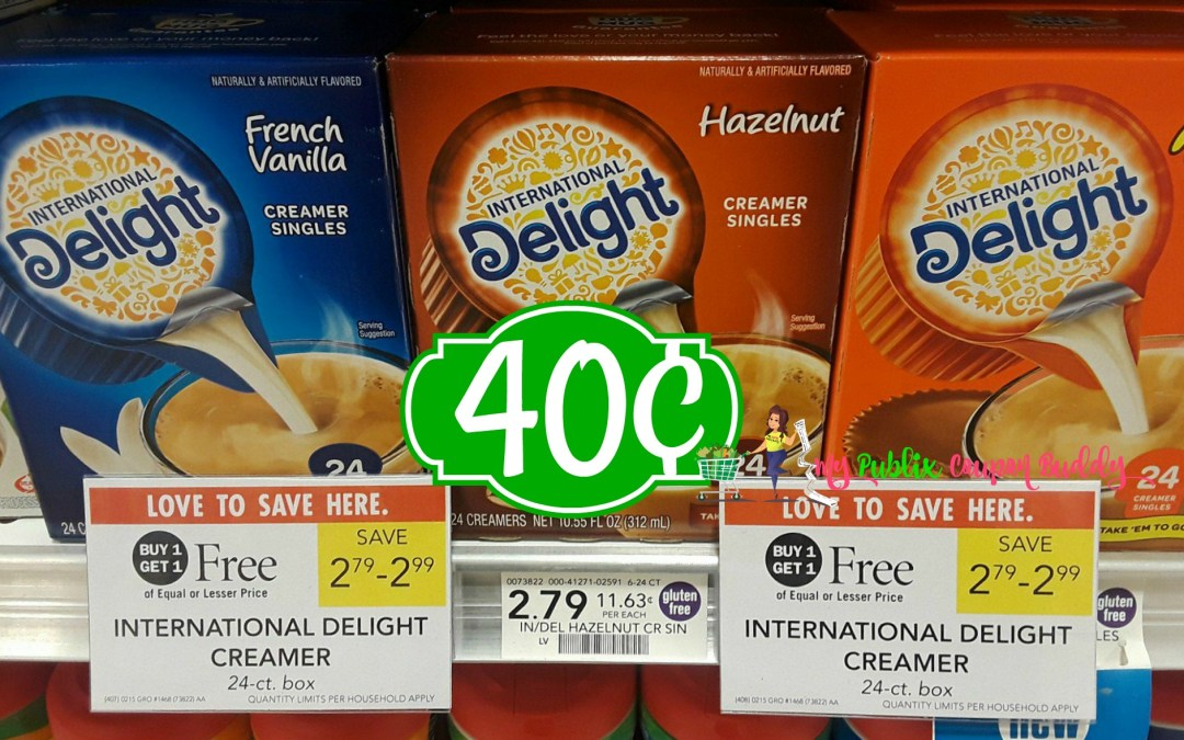 International Delight Single Serve 24 ct box 40¢ at Publix