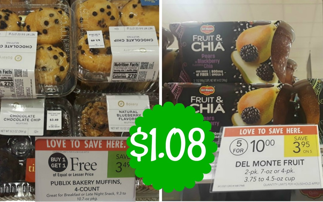 Del Monte Fruit Refreshers & Bakery Muffins $1.08 ea. at Publix