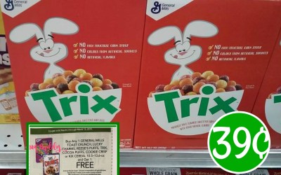 Trix Cereal 39¢ after coupons and Ibotta at Publix