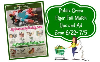 Publix Green Flyer Full Match Ups and Ad Scan 6/22- 7/5